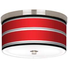 "Red Stripes Nickel 10 1/4"" Wide Ceiling Light"