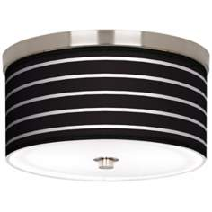 "Bold Black Stripe Nickel 10 1/4"" Wide Ceiling Light"