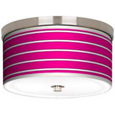 "Bold Pink Stripe Nickel 10 1/4"" Wide Ceiling Light"