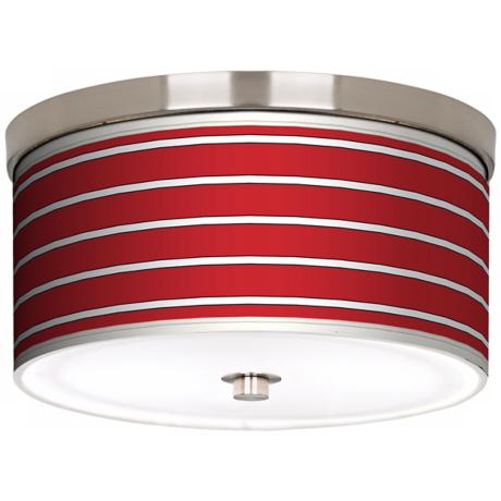"Bold Red Stripe Nickel 10 1/4"" Wide Ceiling Light"