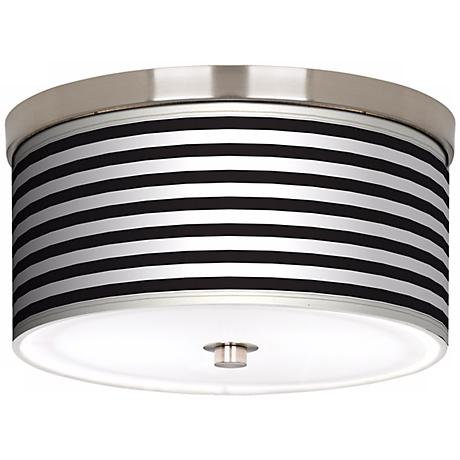 "Black Horizontal Stripe Nickel 10 1/4"" Wide Ceiling Light"