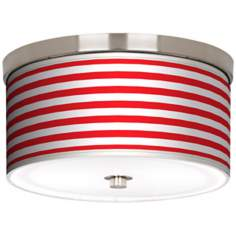 "Red Horizontal Stripe Nickel 10 1/4"" Wide Ceiling Light"
