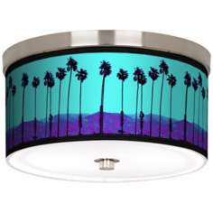 "Palm Tree Haze Nickel 10 1/4"" Wide Ceiling Light"