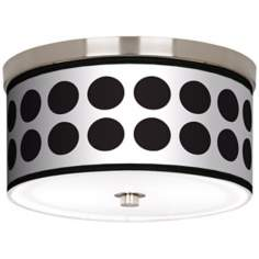 "Black Orbs Nickel 10 1/4"" Wide Ceiling Light"