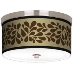 "Brown Splash on Tan Nickel 10 1/4"" Wide Ceiling Light"