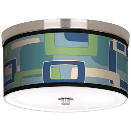 "Retro Rectangles Nickel 10 1/4"" Wide Ceiling Light"