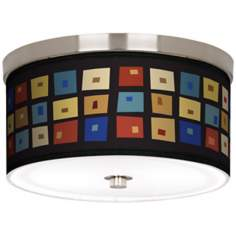 "Palette Squares Nickel 10 1/4"" Wide Ceiling Light"