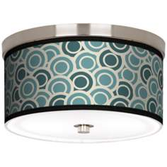 "Blue/ Green Circlets Nickel 10 1/4"" Wide Ceiling Light"