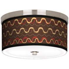 "Wave Stitch Nickel 10 1/4"" Wide Ceiling Light"