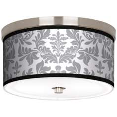 "Grey Flourish Nickel 10 1/4"" Wide Ceiling Light"