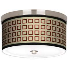 "Simply Squares Nickel 10 1/4"" Wide Ceiling Light"