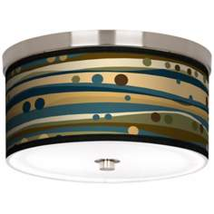 "Dots and Waves Nickel 10 1/4"" Wide Ceiling Light"
