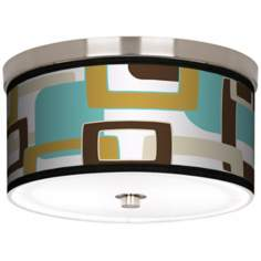 "Countess Retro Rectangles Nickel 10 1/4"" Wide Ceiling Light"