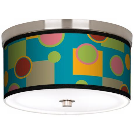 "Vibrant Retro Medley Nickel 10 1/4"" Wide Ceiling Light"