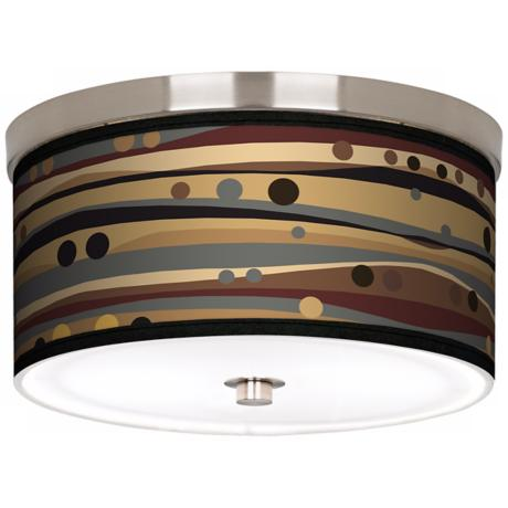 "Natural Dots and Waves Nickel 10 1/4"" Wide Ceiling Light"
