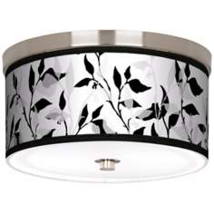 "Three- Tone Leaves Nickel 10 1/4"" Wide Ceiling Light"