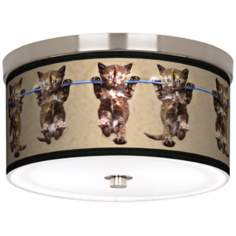 "Cool Cat Nickel 10 1/4"" Wide Ceiling Light"