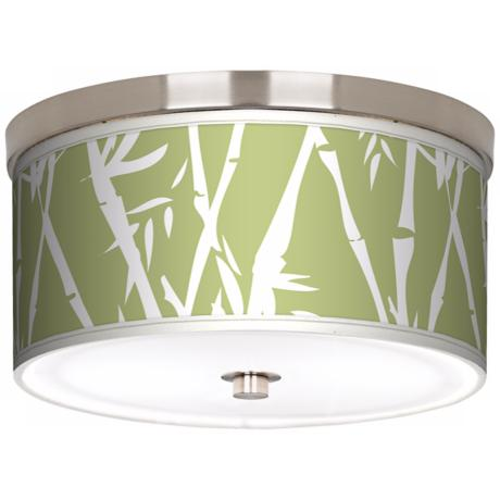 "Lush Bamboo Nickel 10 1/4"" Wide Ceiling Light"