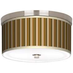 "Umber Stripes Nickel 10 1/4"" Wide Ceiling Light"