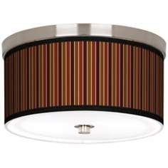 "Cinnamon Stripes Nickel 10 1/4"" Wide Ceiling Light"
