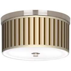 "Fawn Stripes Nickel 10 1/4"" Wide Ceiling Light"