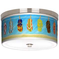 "Summer Flip-Flops Nickel 10 1/4"" Wide Ceiling Light"