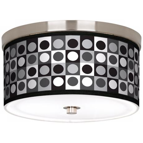 "Black and Grey Dotted Squares Nickel 10 1/4"" W Ceiling Light"