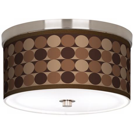 "Sienna Grey Circles Nickel 10 1/4"" Wide Ceiling Light"