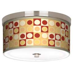 "Retro Dotted Squares Nickel 10 1/4"" Wide Ceiling Light"