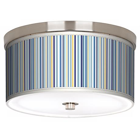"Stacy Garcia Cabana Stripe Nickel 10 1/4"" Wide Ceiling Light"