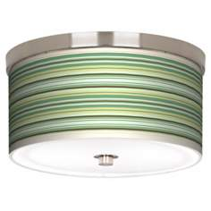 "Lexington Stripe Nickel 10 1/4"" Wide Ceiling Light"