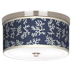 "Prussian Coral Nickel 10 1/4"" Wide Ceiling Light"