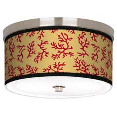 "Crimson Coral Nickel 10 1/4"" Wide Ceiling Light"