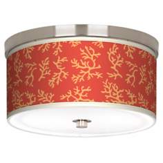 "Tangerine Coral Nickel 10 1/4"" Wide Ceiling Light"
