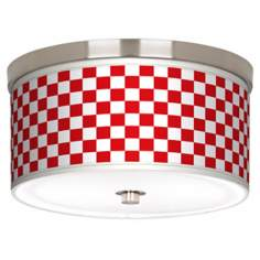 "Checkered Red Nickel 10 1/4"" Wide Ceiling Light"