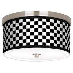 "Checkered Black Nickel 10 1/4"" Wide Ceiling Light"