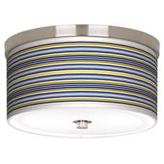 "Charleston Stripes Nickel 10 1/4"" Wide Ceiling Light"