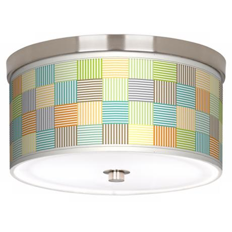 "Pixel Light Nickel 10 1/4"" Wide Ceiling Light"