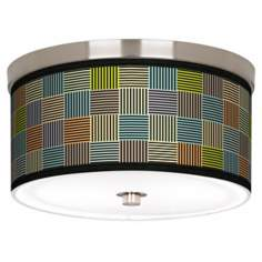 "Pixel City Nickel 10 1/4"" Wide Ceiling Light"