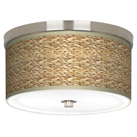 "Seagrass Giclee Nickel 10 1/4"" Wide Ceiling Light"