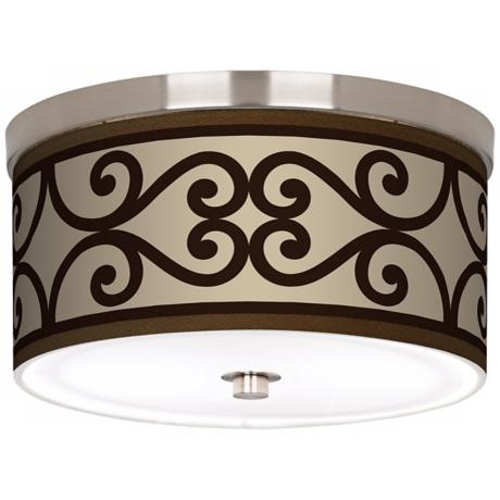 "Cambria Scroll Nickel 10 1/4"" Wide Ceiling Light"