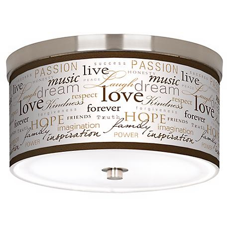 "Positivity Giclee Nickel 10 1/4"" Wide Ceiling Light"