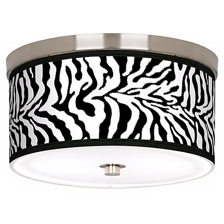 Safari Zebra Giclee Nickel 10 1 4 Quot Wide Ceiling Light