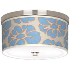 "Floral Blue Silhouette 10 1/4"" Wide CFL Nickel Ceiling Light"
