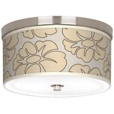"Floral Silhouette 10 1/4"" Wide CFL Nickel Ceiling Light"