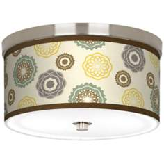 "Ornaments Linen Giclee 10 1/4"" Wide Ceiling Light"