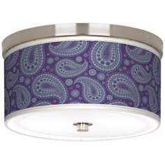 "Purple Paisley Linen Giclee 10 1/4"" Wide Ceiling Light"