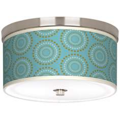 "Blue Calliope Linen Giclee Nickel 10 1/4"" Wide Ceiling Light"