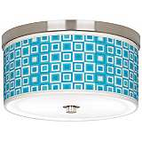 "Blue Boxes Linen Giclee 10 1/4"" Wide Ceiling Light"