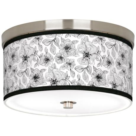 "Stacy Garcia Linear Floral 10 1/4"" CFL Nickel Ceiling Light"